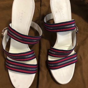 Gucci zipper heels - white, red and blue